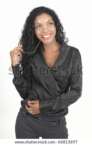 Beautiful brunette businesswoman wearing office clothes holding reading glasses in her hand. On white background with copy space