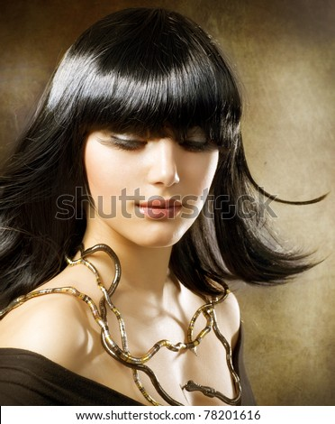 egyptian style hair beautiful style hairstyle stock photo 5699 | stock photo beautiful brunette egyptian style hairstyle 78201616