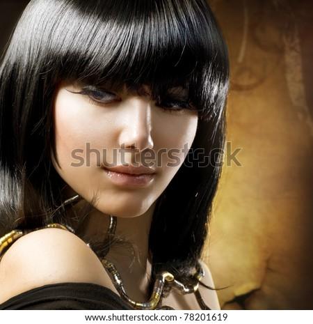 Beautiful Brunette.Egyptian Style.Hairstyle