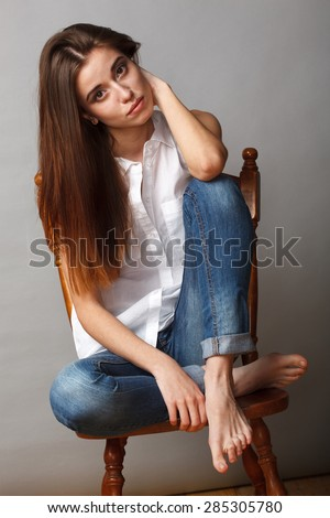 Free Photos Fashion Model Sitting On A Floor In A Jeans Barefoot On