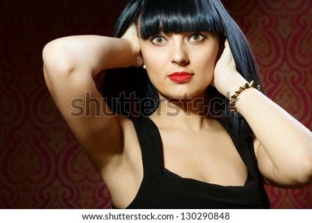 Beautiful brunette girl glamour portrait in studio