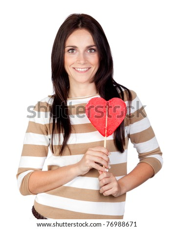 Beautiful brunette girl with a big lollipop isolated on a over white background