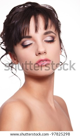 beautiful brunette girl with pretty pink makeup and long hair isolated on white - stock photo