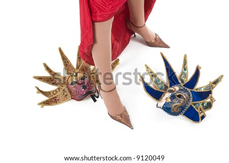Beautiful brunette girl with Venice carnival mask.Sexy leg with high hill shoe.