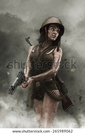 Pity, that military naked army girl holding a gun absolutely