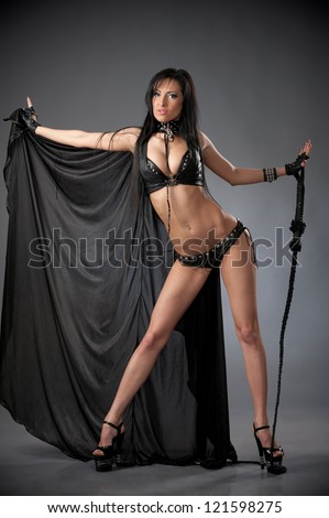 Asian woman whip leather
