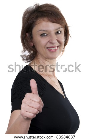 stock photo : beautiful brunette mature woman giving thumbs up with white ...