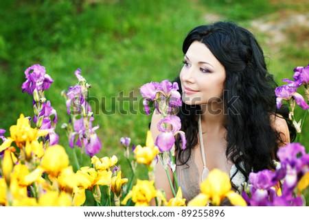 beautiful brunette of irises - stock photo