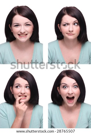 Beautiful brunette Passport photo style range of expressions. - stock photo