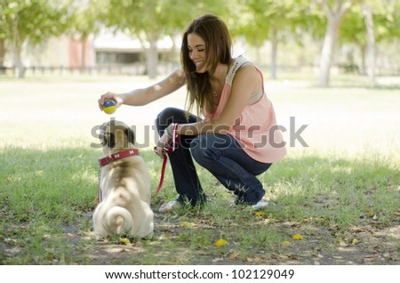 Beautiful brunette playing ball and having fun with her dog at the park
