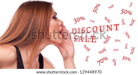 Beautiful brunette shouting discount - easy removable text from white background