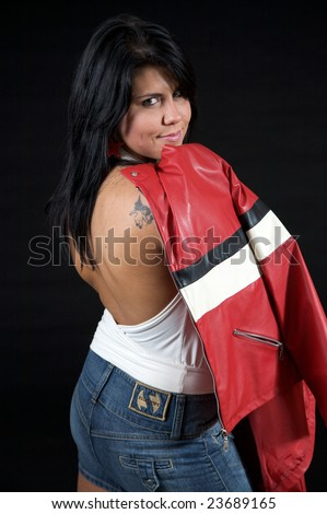 tattoo jacket. jacket. leather. model. red. tattoo