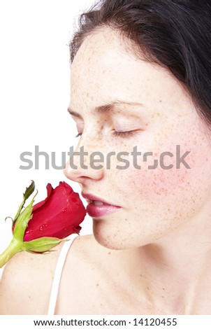Image result for lady with her nose in a rose