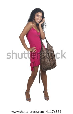 White Cocktail Dress on Cocktail Dress And Leopard Print Bag Smiling On White Background  Not