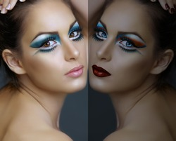 Beautiful brunette woman with cat eyes make-up in turquoise and white, with a double reflection