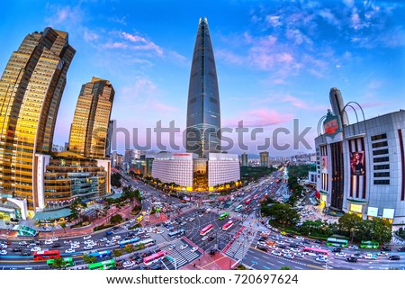 beautiful buidings and traffic at jamsil in seoul,south korea.Fish eye view. stock photo