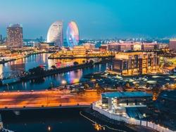 Beautiful Building architecture of Yokohama skyline city at night in japan