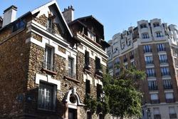 Beautiful building facade in Paris, France.