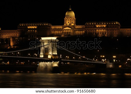 beautiful building  in the Budapest at the night time illuminated by a lot of lights
