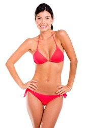 Beautiful bummer woman in bikini - isolated over a white background