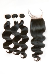 Beautiful bundle hair body wave style with lace frontal closure