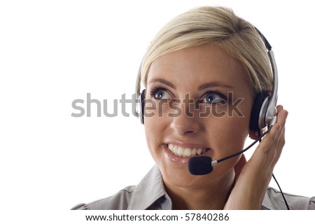 beautiful business customer service woman -isolated over a white background, a lot copyspace