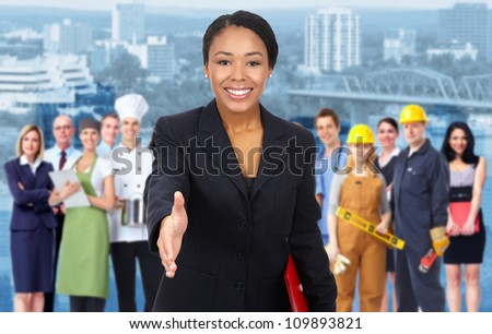Beautiful Business woman and Group of industrial workers.