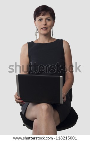 beautiful business woman and laptop computer