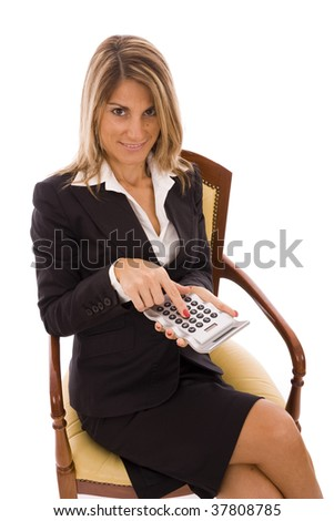 Beautiful business woman holding a calculator