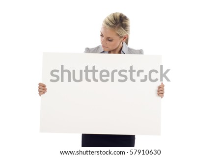 Beautiful business woman holding blank white billboard isolated over white