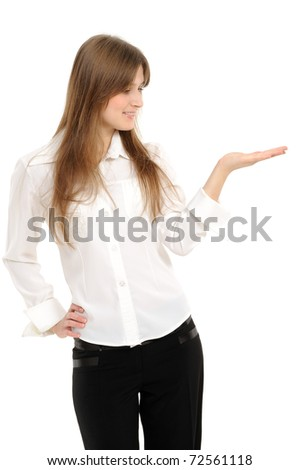 Beautiful business woman holding hand presenting a product. On a white background