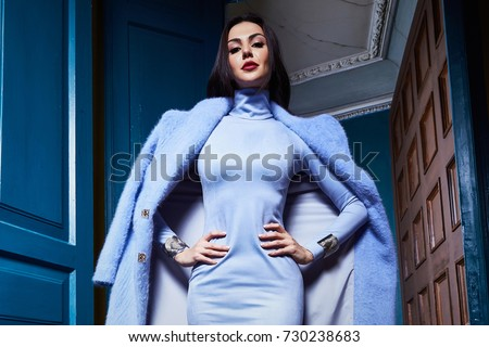 Beautiful business woman lady style perfect body shape brunette hair wear blue color dress coat jacket elegance casual style glamour fashion bag accessory shoes jewelry interior door luxury party.