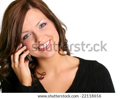 beautiful business woman on the phone smiling