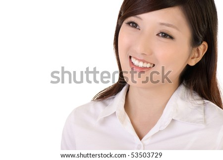 Beautiful business woman smile in white background.