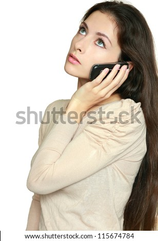 Beautiful business woman talking on phone and thinking looking up isolated isolated on white background. Closeup portrait of female long hair model thinking