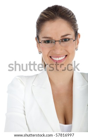 Beautiful business woman wearing glasses - isolated over a white background