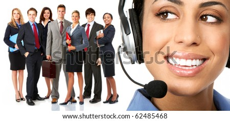 Beautiful  business woman with headset and business people