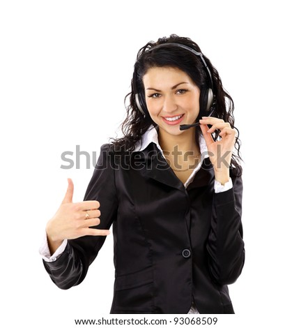 Beautiful business woman with headset and showing ok sing.