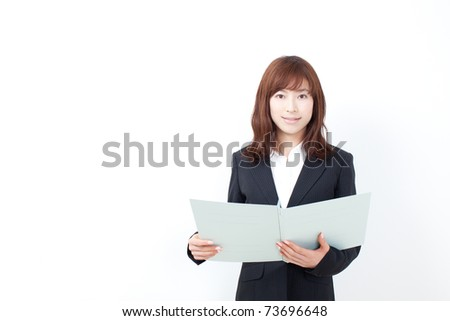 beautiful business woman with report