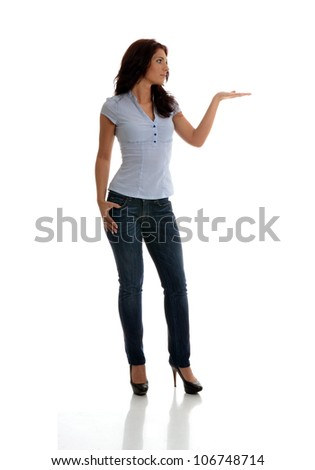 Beautiful business woman with the left palm presenting gesture.