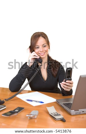 Beautiful business woman working in her office - Too much work! - over a white background - stock photo