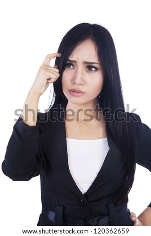 Beautiful businesswoman is confused isolated over white