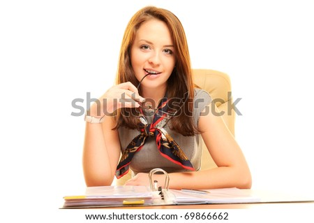 Beautiful businesswoman isolated over white