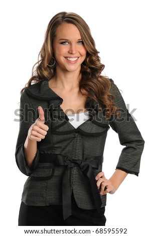 Beautiful businesswoman showing thumbs up isolated over white background - stock photo