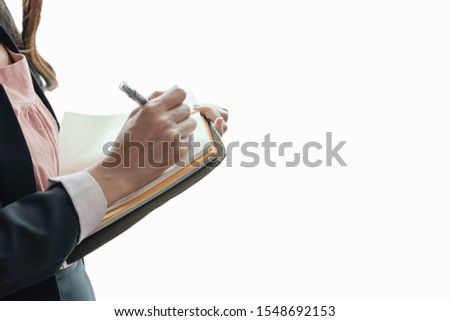 Beautiful businesswoman Taking notes Product details In product chainsaw Check order Deliver products to customers #1548692153