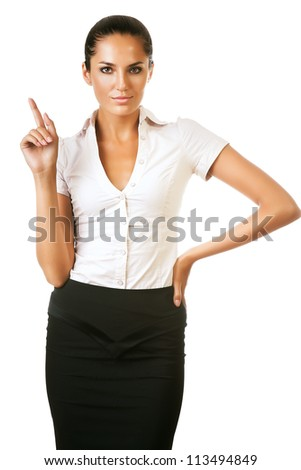 beautiful businesswoman with finger up on white background