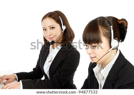 Beautiful businesswoman with headset. Asian women.