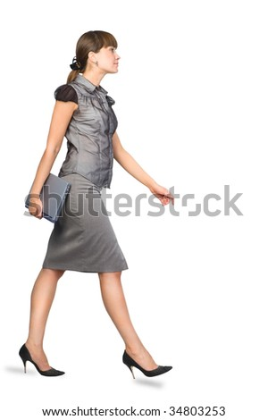 Beautiful Businesswoman with Laptop.Isolated on white background