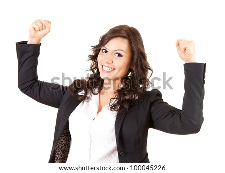 beautiful businesswoman with raised arms, white background - stock photo
