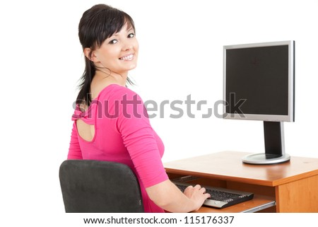 beautiful businesswoman working on computer, white background